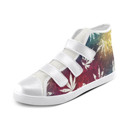 Custom Velcro High Top Canvas Shoes For Girls