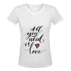 V-neck Women's T-shirt (Model T19)