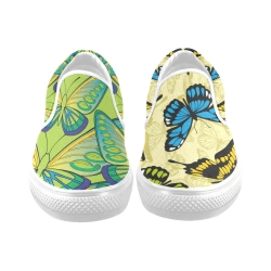 Slip-on Canvas Women's Shoes (Model019) (Two Shoes With Different Printing)