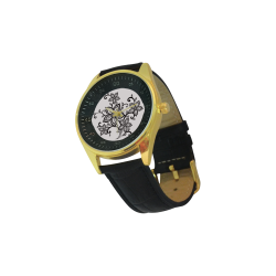 Men's Golden  Leather Strap Watch(Model210)