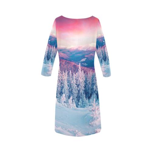 Women's Loose Round Neck Dress(Model D22)