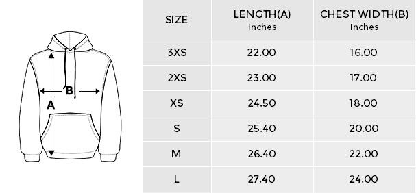 Stardust Hoodies size chart