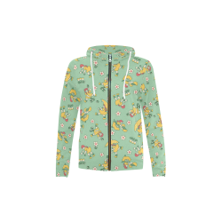 Kid's All Over Print Full Zip Hoodie (Model H14)