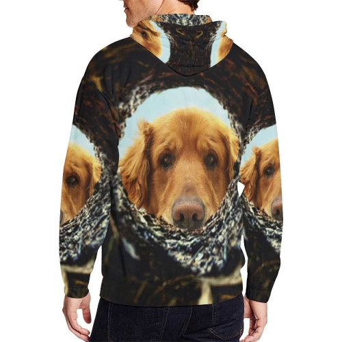 Men's All Over Print Full Zip Hoodie (Model H14)