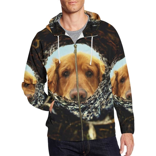 Men's All Over Print Full Zip Hoodie (Model H14 )(Large Size)