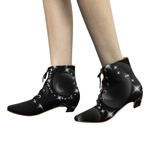 Custom Women's Chic Low Heel Lace Up Ankle High Boots