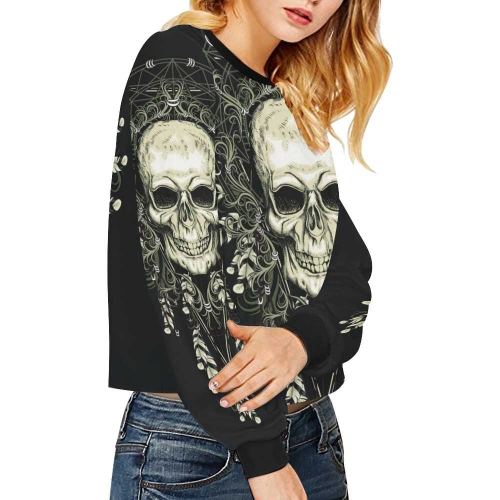 Women's Cropped Pullover Sweatshirts (Model H20)