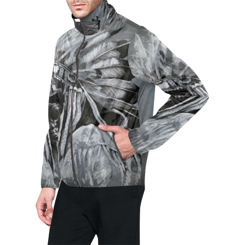 Men's All Over Print  Hooded Windbreaker (Model H23)