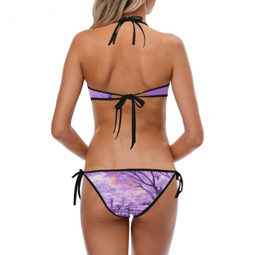 Women's Custom Halter & Side Tie Bikini Swimsuit (Model S06)