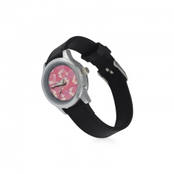Kid's Stainless Steel Leather Strap Watch(Model208)