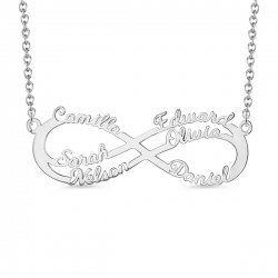 Personalized Infinity Six Names Necklace Sterling Silver 925