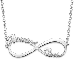 Personalized Infinity Two Names Necklace Sterling Silver 925