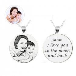 Photo Engraved Necklace Sterling Silver 925
