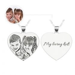 Photo Engraved Heart Necklace Titanium Steel