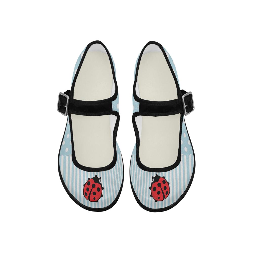 Ladybug mary jane flats