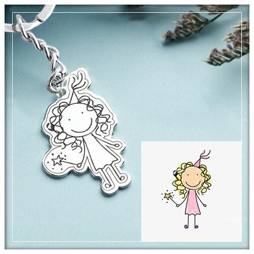 Children Artwork Keychain 925 Sterling Silver