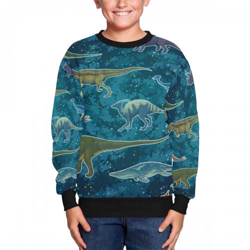 Kids' All Over Print Fuzzy Sweatshirt(ModelH37)