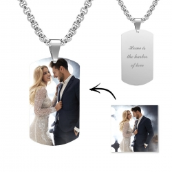 Engraved Titanium Steel Photo Dog Tag Necklace