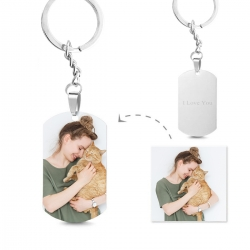 Engraved Titanium Steel Photo Dog Tag Keychain