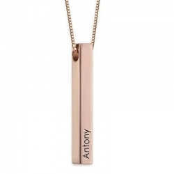 Personalized 3D Bar Name Necklace(Copper)(Rose Gold Color)