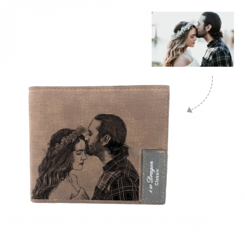 Men's Personalized Photo Engraved Wallet(Brown)(Model1712)