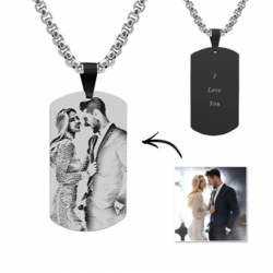 Engraved Black Titanium Steel Photo Dog Tag Necklace