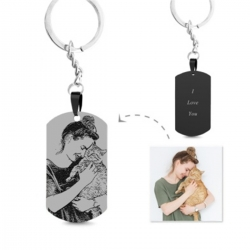 Engraved Black Titanium Steel Photo Dog Tag Keychain