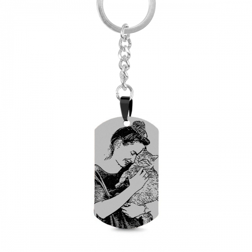 Engraved Black Titanium Steel Photo Dog Tag Keychain