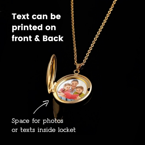 Personalized Round Photo Locket Necklace Gold Color