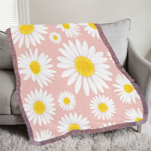 "Ultra-Soft Mixed Pink Fringe Blanket 40""x50"""