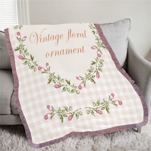 "Ultra-Soft Mixed Pink Fringe Blanket 50""x60"""