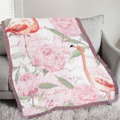 "Ultra-Soft Mixed Pink Fringe Blanket 60""x80"""