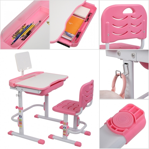 70CM Lifting Table Can Tilt Children Learning Table And Chair Pink (With Reading Stand Without Table Lamp)