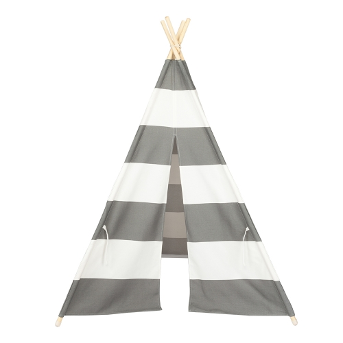 4pcs Wooden Poles Teepee Tent for Kids Gray and White Stripes(Ship From USA)