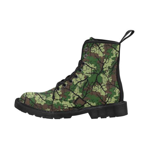 Men's Lace Up Canvas Boots (Model1203H)(Black)
