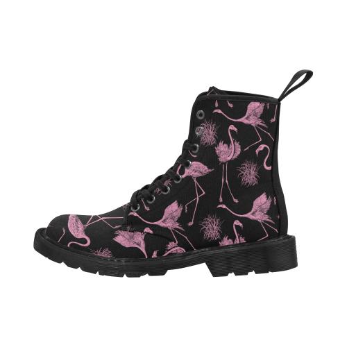 Women's Lace Up Canvas Boots (Model1203H)(Black)