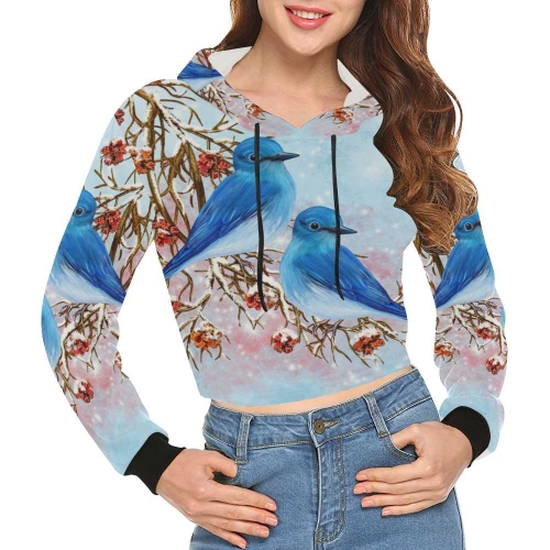Women's All Over Print Cropped Hoodie (Model H22)