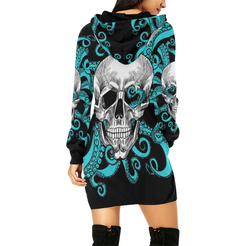 Women's All Over Print Hoodie Mini Dress(Model H27)