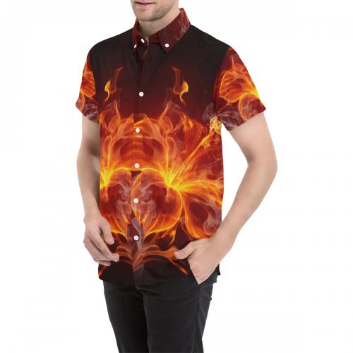 Men's All Over Print Short Sleeve Shirt (Large Size) (Model T53)