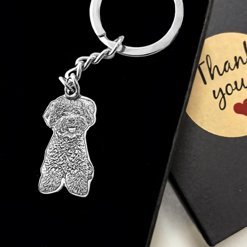 Photo Engraved Keychain Sterling Silver 925